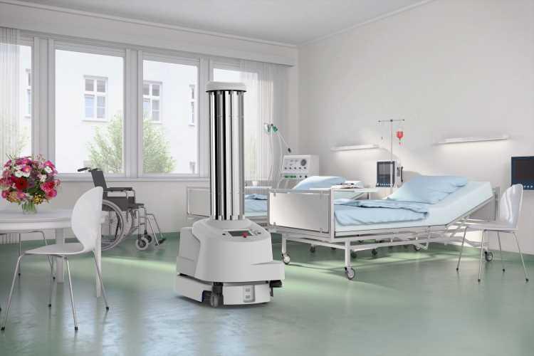 協働ロボットが病院スタッフを助ける。病室を自動で消毒する自律型消毒ロボット